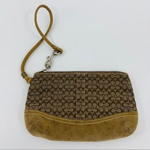 Coach Brown Leather and Signature Fabric Wristlet